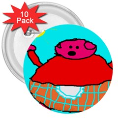 Sweet Pig Knoremans, Art By Kids 3  Button (10 Pack) by yoursparklingshop