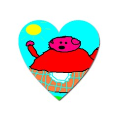 Sweet Pig Knoremans, Art By Kids Magnet (heart) by yoursparklingshop