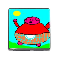 Sweet Pig Knoremans, Art By Kids Memory Card Reader With Storage (square) by yoursparklingshop