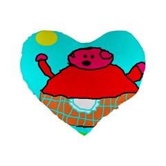 Sweet Pig Knoremans, Art By Kids Standard 16  Premium Flano Heart Shape Cushion  by yoursparklingshop