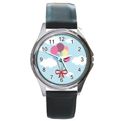 Balloons Round Leather Watch (silver Rim) by Kathrinlegg