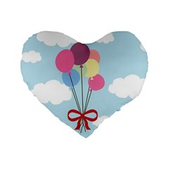 Balloons Standard 16  Premium Heart Shape Cushion  by Kathrinlegg
