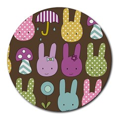 Bunny  8  Mouse Pad (round) by Kathrinlegg
