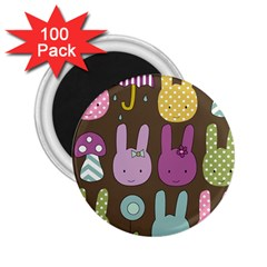 Bunny  2 25  Button Magnet (100 Pack) by Kathrinlegg