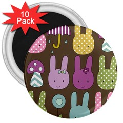 Bunny  3  Button Magnet (10 Pack)