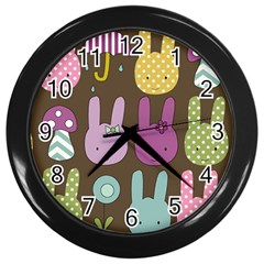 Bunny  Wall Clock (black) by Kathrinlegg