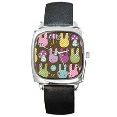 Bunny  Square Leather Watch by Kathrinlegg