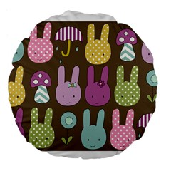 Bunny  Large 18  Premium Round Cushion  by Kathrinlegg