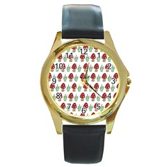 Mushrooms Round Leather Watch (gold Rim)  by Kathrinlegg