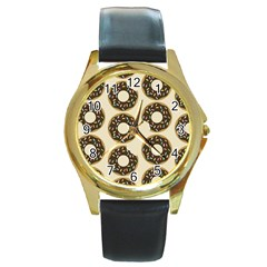 Donuts Round Leather Watch (gold Rim)  by Kathrinlegg