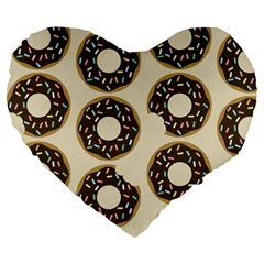 Donuts Large 19  Premium Heart Shape Cushion by Kathrinlegg