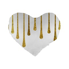 Gold Glitter Paint Standard 16  Premium Heart Shape Cushion  by Kathrinlegg