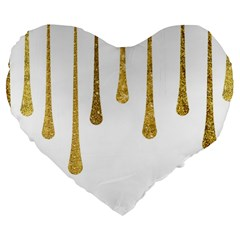 Gold Glitter Paint Large 19  Premium Heart Shape Cushion by Kathrinlegg