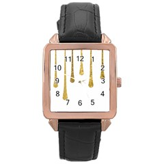 Gold Glitter Paint Rose Gold Leather Watch  by Kathrinlegg