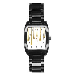 Gold Glitter Paint Stainless Steel Barrel Watch by Kathrinlegg