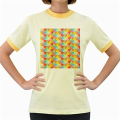 Triangle Pattern Women s Ringer T Shirt (colored) by Kathrinlegg