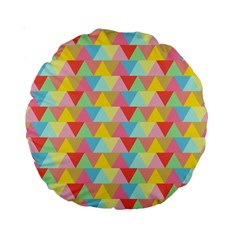 Triangle Pattern Standard 15  Premium Round Cushion  by Kathrinlegg