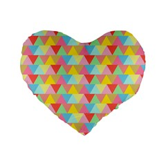 Triangle Pattern Standard 16  Premium Heart Shape Cushion  by Kathrinlegg