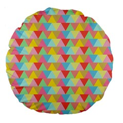 Triangle Pattern Large 18  Premium Flano Round Cushion  by Kathrinlegg