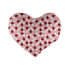 Spot The Ladybug Standard 16  Premium Heart Shape Cushion  by Kathrinlegg