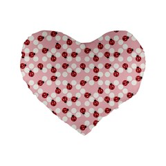 Spot The Ladybug Standard 16  Premium Flano Heart Shape Cushion  by Kathrinlegg
