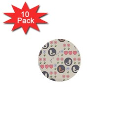 Love Birds 1  Mini Button (10 Pack) by Kathrinlegg
