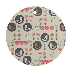 Love Birds Round Ornament (two Sides) by Kathrinlegg