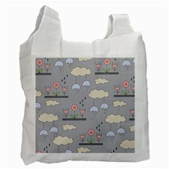 Garden In The Sky White Reusable Bag (one Side) by Kathrinlegg