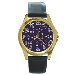 Summer Garden Round Leather Watch (gold Rim)  by Kathrinlegg