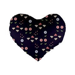 Summer Garden Standard 16  Premium Flano Heart Shape Cushion  by Kathrinlegg