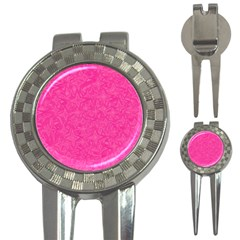 Abstract Stars In Hot Pink Golf Pitchfork & Ball Marker