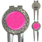 Abstract Stars In Hot Pink Golf Pitchfork & Ball Marker Front