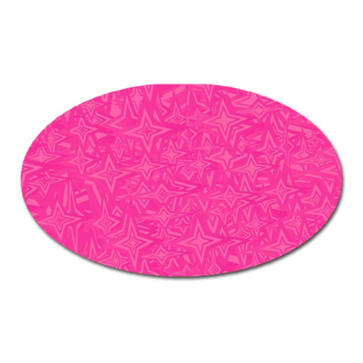 Abstract Stars In Hot Pink Magnet (Oval)