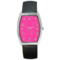 Abstract Stars In Hot Pink Tonneau Leather Watch by StuffOrSomething
