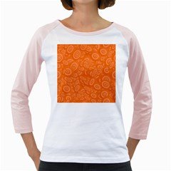 Orange Abstract 45s Women s Long Cap Sleeve T Shirt (white)  by StuffOrSomething