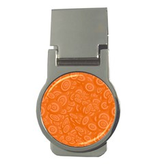 Orange Abstract 45s Money Clip (round) by StuffOrSomething