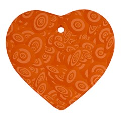 Orange Abstract 45s Heart Ornament (two Sides) by StuffOrSomething