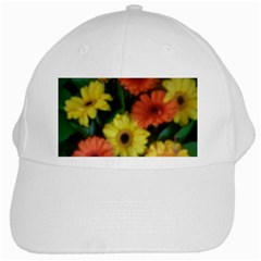 Orange Yellow Daisy Flowers Gerbera White Baseball Cap by yoursparklingshop