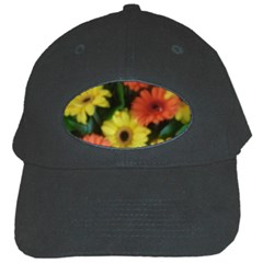Orange Yellow Daisy Flowers Gerbera Black Baseball Cap