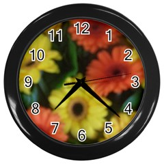 Orange Yellow Daisy Flowers Gerbera Wall Clock (black) by yoursparklingshop