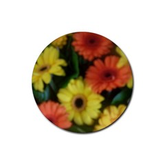 Orange Yellow Daisy Flowers Gerbera Drink Coasters 4 Pack (round) by yoursparklingshop