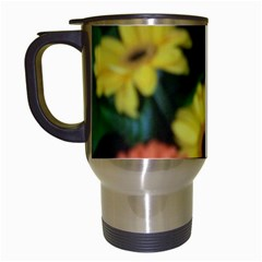 Orange Yellow Daisy Flowers Gerbera Travel Mug (white) by yoursparklingshop