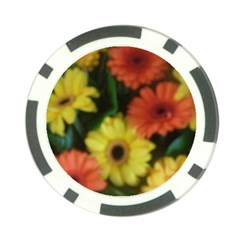 Orange Yellow Daisy Flowers Gerbera Poker Chip by yoursparklingshop