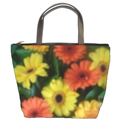 Orange Yellow Daisy Flowers Gerbera Bucket Handbag by yoursparklingshop