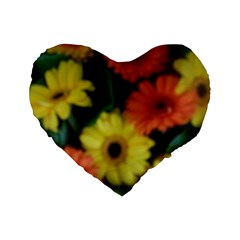 Orange Yellow Daisy Flowers Gerbera Standard 16  Premium Flano Heart Shape Cushion  by yoursparklingshop