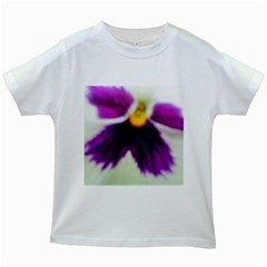 Inside Purple White Violet Flower Kids T Shirt (white) by yoursparklingshop