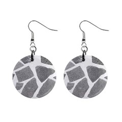 Grey White Tiles Pattern Mini Button Earrings by yoursparklingshop