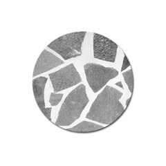 Grey White Tiles Pattern Magnet 3  (round) by yoursparklingshop