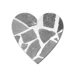 Grey White Tiles Pattern Magnet (heart) by yoursparklingshop