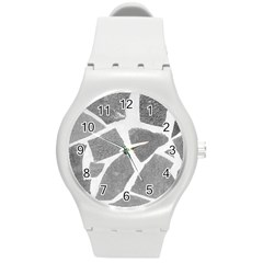 Grey White Tiles Pattern Plastic Sport Watch (medium) by yoursparklingshop